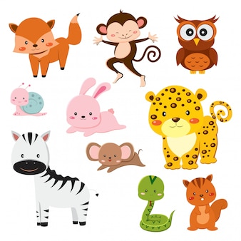 Conjunto de animais fofos dos desenhos animados