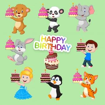 Conjunto de animais fofos e crianças para feliz aniversário