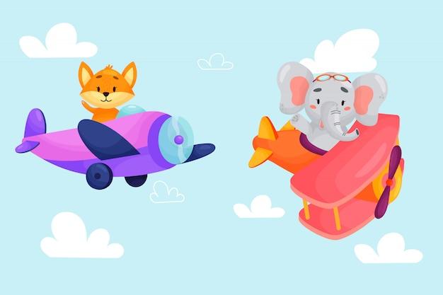 Conjunto de animais fofos em aviões. transporte de crianças. pilotos engraçados. raposa, elefante. ilustração