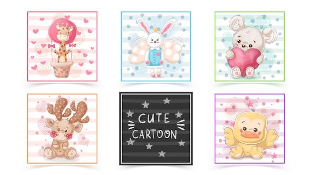 Conjunto de animais fofos em cartões