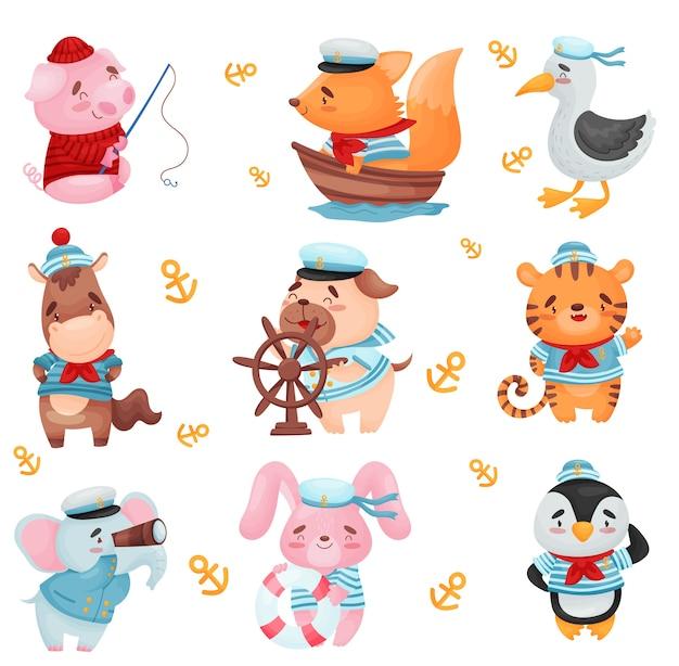 Conjunto de animais fofos em fantasias de marinheiros
