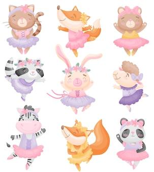 Conjunto de animais fofos em vestidos de bailarina