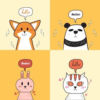 Conjunto de animais fofos: gato, panda, coelho e raposa.