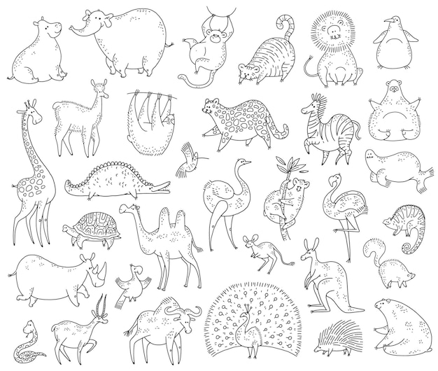 Conjunto de animais fofos. ilustração em vetor preto branco cartoon doodle personagens.
