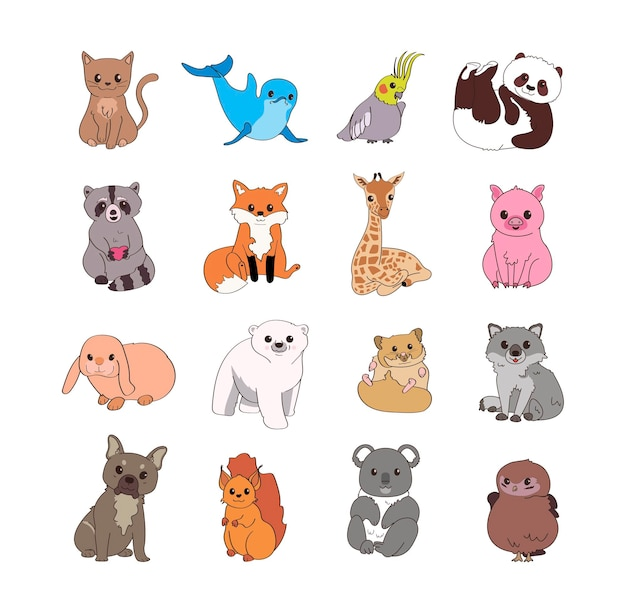 Conjunto de animais fofos. ilustrações infantis para a criação de autocolantes, postais, livros.