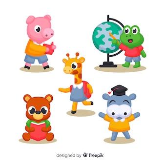 Conjunto de animais fofos ilustrados na escola