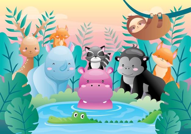 Conjunto de animais fofos na selva