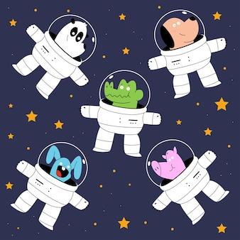 Conjunto de animais fofos no espaço