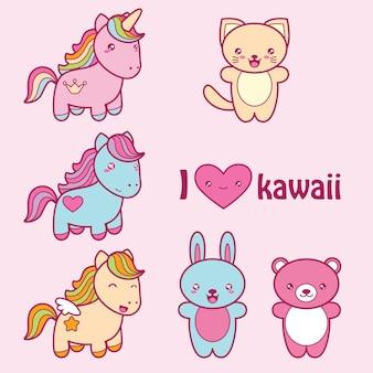 Conjunto de animais fofos no estilo kawaii Vetor Premium
