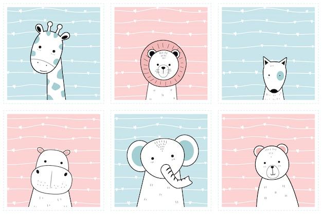 Conjunto de animais fofos no quadro dos desenhos animados doodle coleção de papel de parede