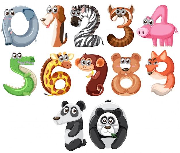 Conjunto de animais fofos número