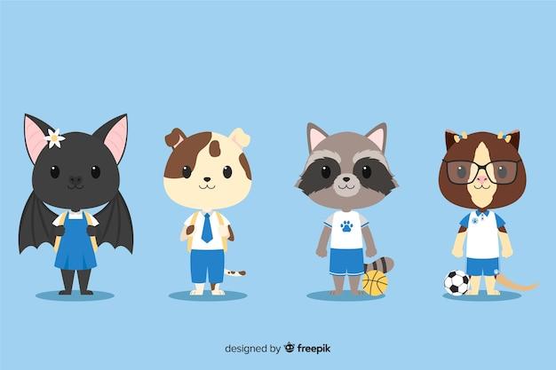 Conjunto de animais fofos, prontos para estudar