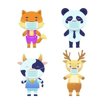 Conjunto de animais fofos usando máscaras