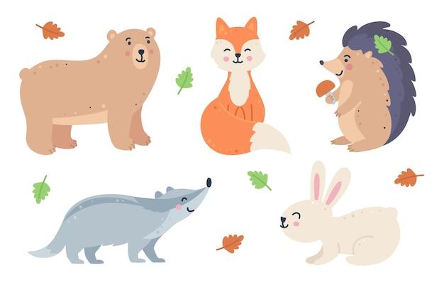 Conjunto de animais fores infantis desenhados à mão