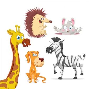 Conjunto de animais, girafa, zebra, cachorro, coelho e ouriço