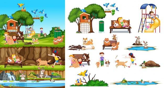 Conjunto de animais isolados e crianças com cena de fundo