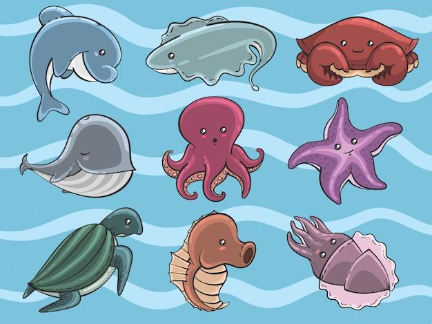 Conjunto de animais marinhos bonitos dos desenhos animados desenhados à mão
