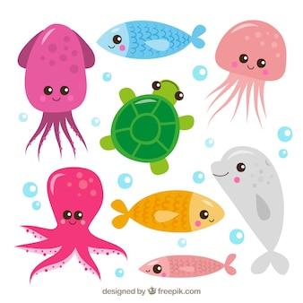 Conjunto de animais marinhos bonitos