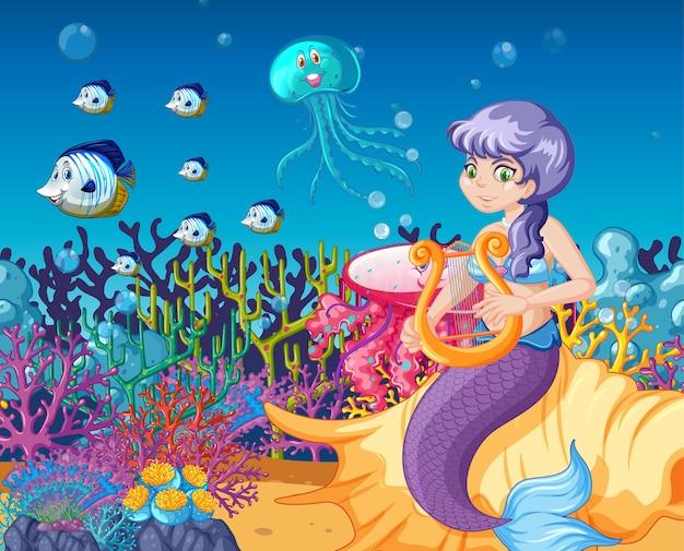 Conjunto de animais marinhos e desenho de sereia no fundo do mar