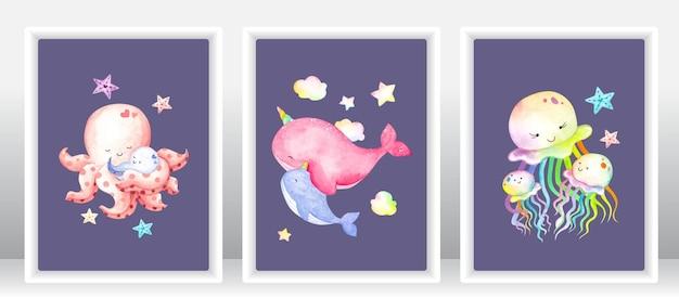 Conjunto de animais marinhos em aquarela