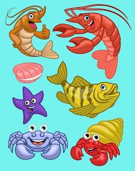Conjunto de animais marinhos em estilo cartoon