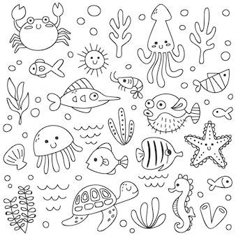 Conjunto de animais marinhos fofos no estilo doodle