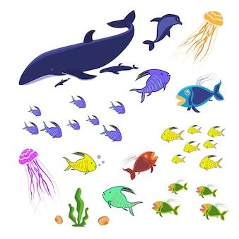 Conjunto de animais marinhos isolado no branco. peixes, medusas e baleias coloridas. uma coleção de criaturas marinhas para o aquário oceânico. vetor eps10.