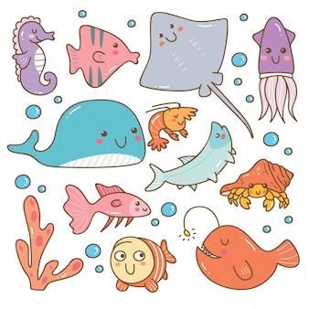 Conjunto de animais marinhos kawaii conjunto
