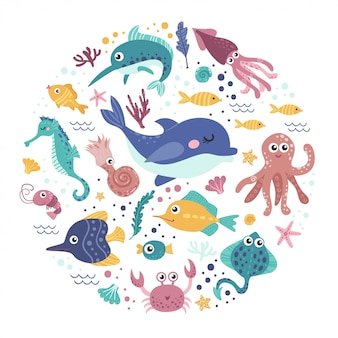 Conjunto de animais marinhos