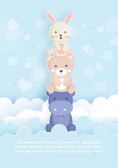 Conjunto de animais modelo cartão com coelho, hipopótamo e urso no estilo de cartão de papel para cartão de aniversário