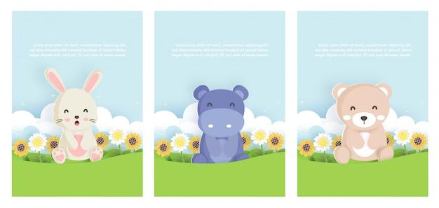 Conjunto de animais modelo de cartão com coelho, hipopótamo e urso no estilo de cartão de papel para cartão de aniversário