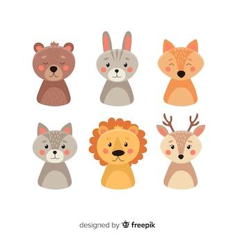 Conjunto de animais no estilo infantil