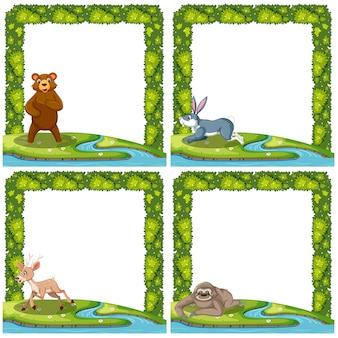 Conjunto de animais no quadro de natureza