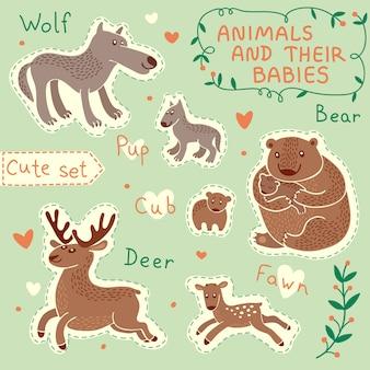 Conjunto de animais para bebê e mamãe
