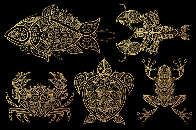 Conjunto de animais peixes, lagosta, caranguejo, tartarugas marinhas, sapo