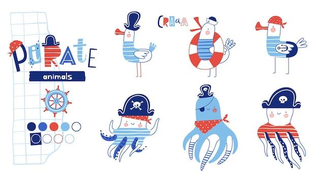 Conjunto de animais piratas, polvos engraçados e carismáticos e gaivotas com chapéus de pirata e vendas nos olhos