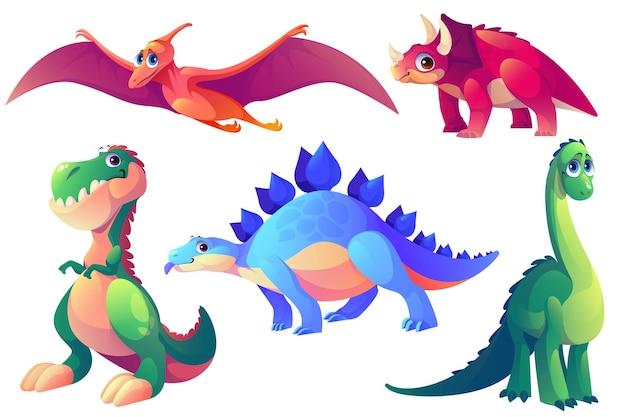 Conjunto de animais pré-históricos de dinossauros de desenho animado Vetor grátis