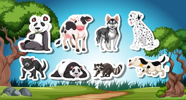 Conjunto de animais preto e branco de od