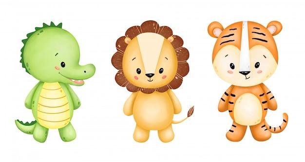 Conjunto de animais selvagens bonito dos desenhos animados Vetor Premium
