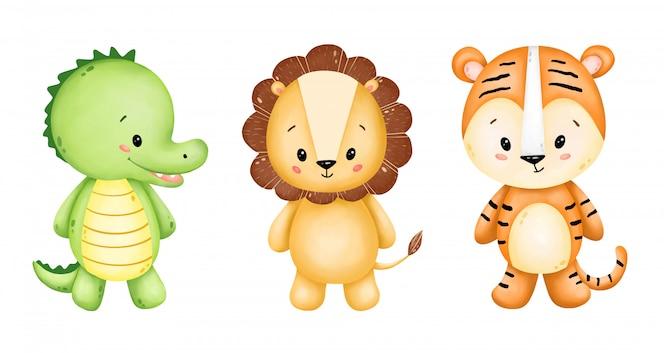 Conjunto de animais selvagens bonito dos desenhos animados