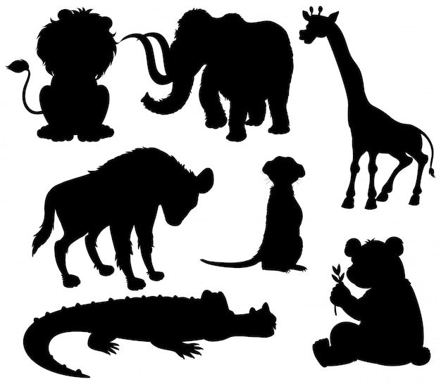 Conjunto de animais selvagens de silhueta