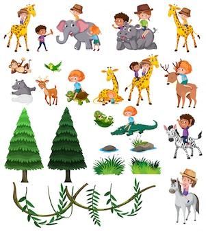 Conjunto de animais selvagens e crianças