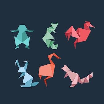 Conjunto de animais selvagens e de fazenda de origami