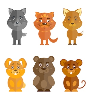 Conjunto de animais selvagens e domésticos