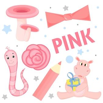 Conjunto de animais selvagens e insetos para crianças rosa