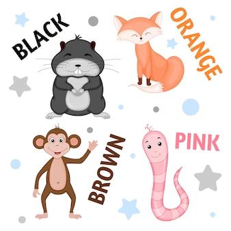 Conjunto de animais selvagens e insetos para crianças