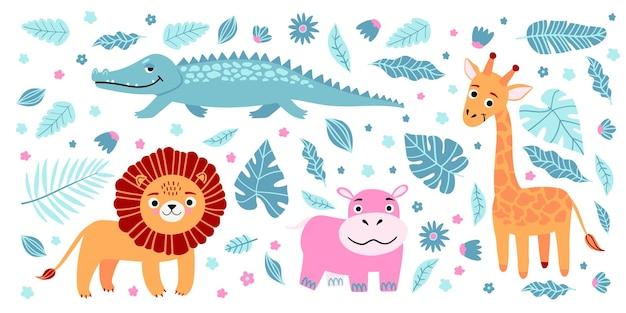 Conjunto de animais selvagens exóticos que vivem na savana ou na selva tropical
