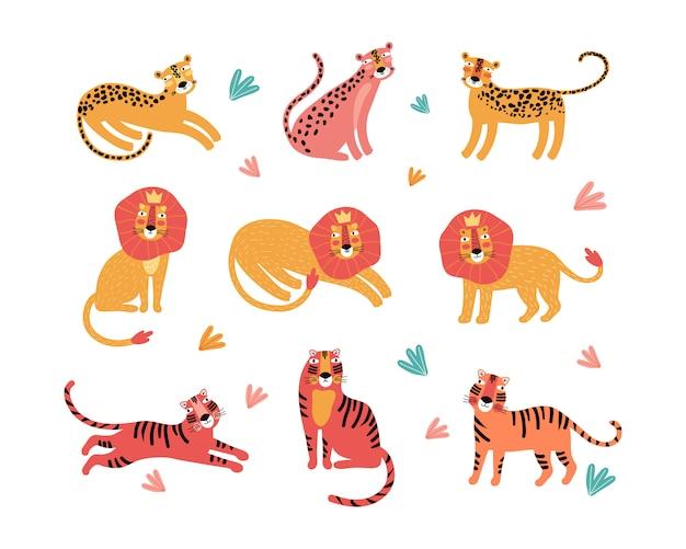 Conjunto de animais selvagens, leopardo, tigre, leão
