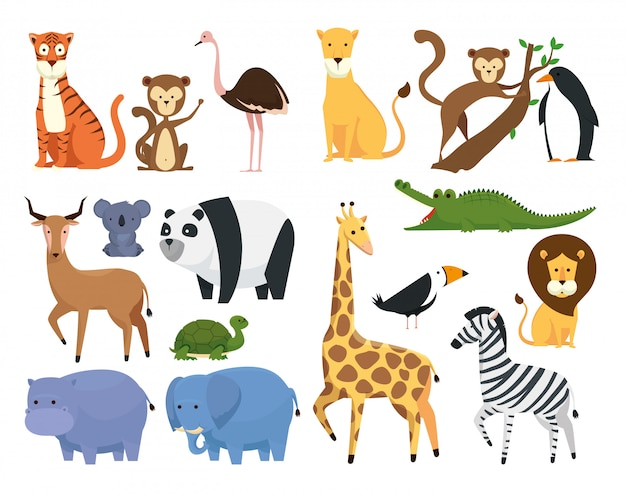 Conjunto de animais selvagens na reserva de safári no zoológico