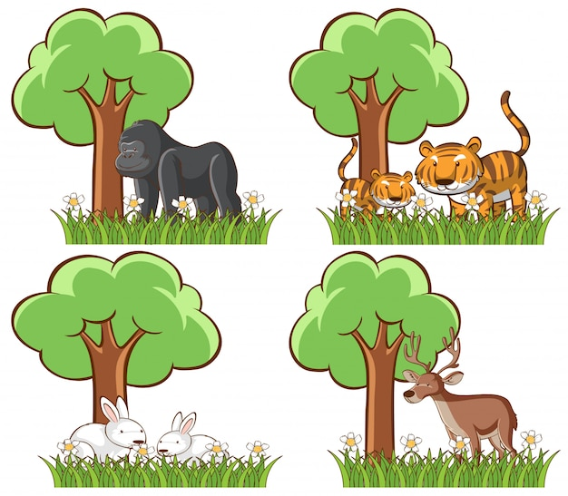 Conjunto de animais selvagens no parque com lago e árvore